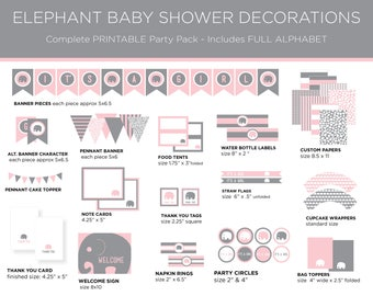 Printable Party Pack - Elephant Baby Shower - Elephant Party Pack - Elephant Theme - Girl Baby Shower