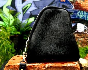 Black leather zipper pouch
