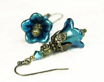 Hand Dyed Teal Blue Lucite Flower Earrings, Vintage Style, Antiqued Brass Beads, Swarovski Crystal