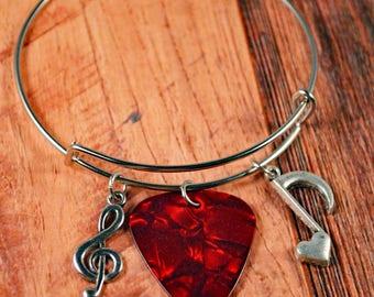 Music Bracelet, Music Bangle, Music Jewelry, Guitar Pick Bracelet, Guitar Pick Bangle, Guitar Jewelry, Guitar Bracelet, Guitar Bangle