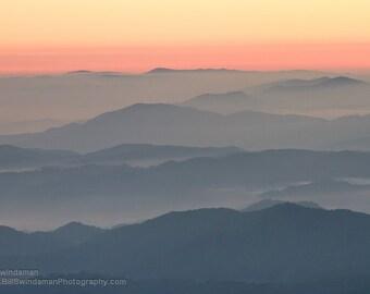 Sunrise Photograph Blue Ridge Mountains - Sunrise at Round Bald
