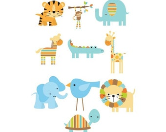 Set of 10 Iron On Heat Transfers...Blue Jungle Animal  Appliques for  Baby Boy Shower, Blue, Green