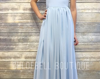 Powder Blue flower girl dress- Junior bridesmaid chiffon dress - Floor length dress - light blue chiffon flower girl dress - cinderella blue
