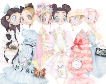 Chanel pop surrealism fashion illustration pastel art print