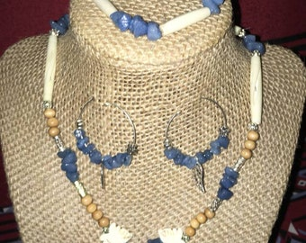 Blue Gemstone/Butterfly necklace with Bracelet and Earring Set