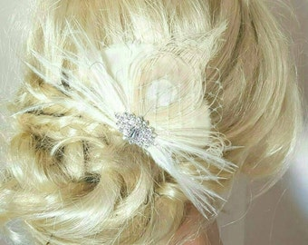 Fascinator, Great Gatsby Style, Ivory Feather Hair Clip, Bridal Hair Comb Wedding Hair Clip Ivory,Ivory Peacock feather fascinators, bridal