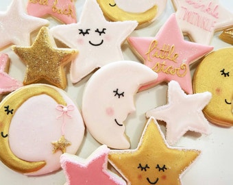 twinkle twinkle little star cookies,  little star cookies, nursery cookies, star cookies, stars and moons, twinkle little star baby shower