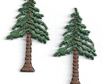 Tree- Pine Tree - Forest - Wild Life - Embroidered Iron On Applique Patch -  SET OF 2