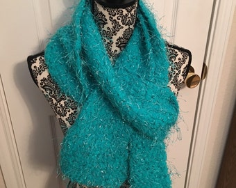 Crocheted Teal and silver eyelash scarf