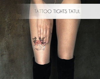 Unique clothes, tattoo tights with hands and flower. Tattoo pantyhose