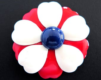 Vintage Red White Blue Enamel Flower Power Pin Patriotic Brooch