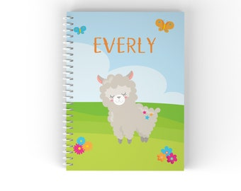 Personalized Notebook - Llama Party Sky Grass Flowers Butterflies with Name, Customized Spiral Notebook Back to School