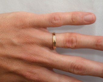 14kt Yellow Gold Hammered Bands