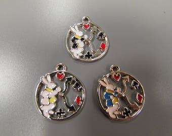 Alice in wonderland White Rabbit charm pendant 3 colours to choose