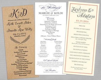 PRINTABLE - Wedding Programs (Any Size, Any Style)