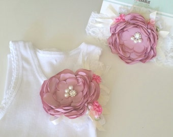 Girls singlet etsy embellished singlet shabby chic burnt satin flower girls singlet lace headband negle Image collections