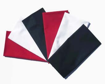 Solid Red White Blue Cloth Napkins, Solid 4th of July Cloth Napkins, Patriotic Cloth Napkins, Red White Blue July 4th Party Table Linens