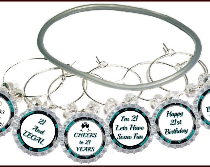 21st Birthday Bottle Cap Wine Charms - Pack of 8