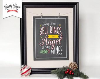 It's a Wonderful Life Christmas Wall Art // INSTANT DOWNLOAD // Holiday Print // Printable Christmas Decor // Christmas Sign // Chalkboard