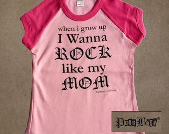 I Wanna Rock Like My Mom hand screen printed, hot pink/light pink, short sleeved kids baseball tee, for Mom's toddler sidekick