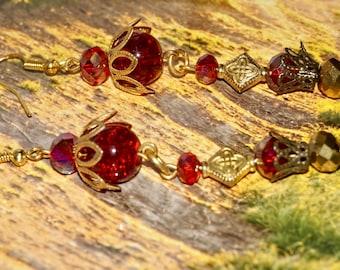 Boho Earrings Cranberry Crowned