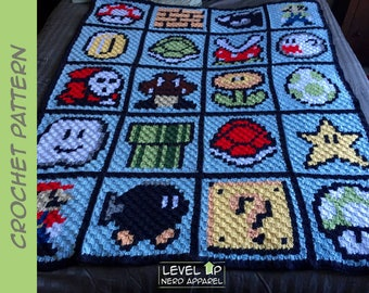 "Video Game Pixel blanket CROCHET PATTERN || 60"" x 48"" 