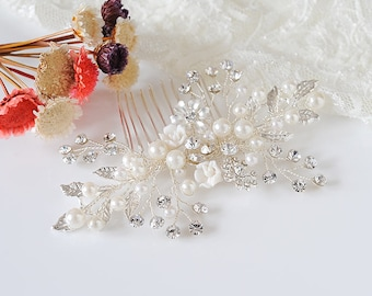 Bridal Hair Comb, Boho Hair Vine, Crystal Flower Leaf Hair Pin, Pearl Cluster Hair Comb, Boho Hair Accessories, Wedding Hair Jewelry, BONITA