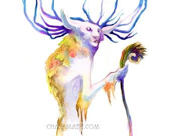 watercolor print 'Wild Man' - art print