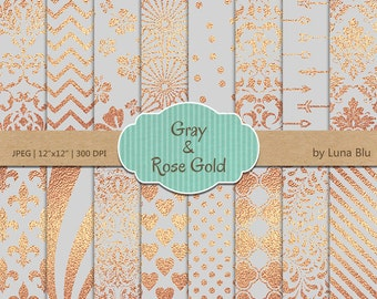"""Gray and Rose Gold Digital Paper: """"Gray and Rose Gold Foil Patterns"""" Gray and rose gold scrapbook paper, rose gold foil"""