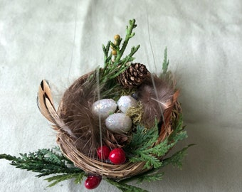 Handmade nest decoration for Christmas tree holiday winter feathers eggs