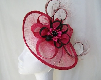 Black Pink Fascinator - Large Cerise Fuchsia Sinamay Loop Saucer Curl Feather and Pearl Headpiece Hat - Kentucky Derby Ascot Made to Order