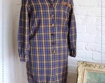 Long Navy Tartan Shirt Dress , by Schneberger