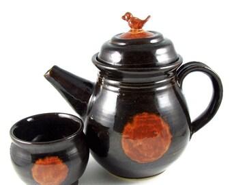 Ceramic Teapot Set - Handmade Teapot -  Little Bird on Top - Stoneware Clay - Pottery Tea Set - Ready to Ship