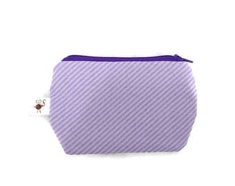 Mini Zipper Pouch Diagonal Stripes Lilac Purple / Coin Purse / Scissor Case / Stitch Marker Pouch S351