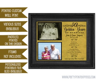 50th Anniversary Gifts - Golden Anniversary Gift - Wedding Anniversary Gift - Parents Anniversary Gift - 50th Wedding Photo Personalized