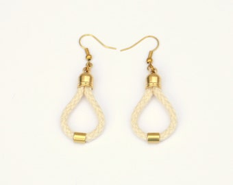 Off White Cord Earrings With Brass, Rope Earrings For Women