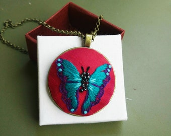Exclusive vintage hand embroidered pendant
