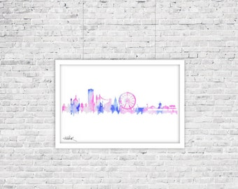 Brighton and Brighton Seaside Pier Skyline Watercolor Silhouette