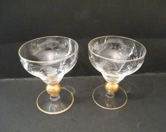 Pair Coupe Champagne Crystal Glasses Gold Ball Stem, Vintage Etched with Heritage pattern, celebrate with elegant toast glassware, wedding
