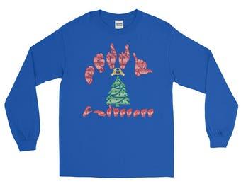 ASL American Sign Language Long Sleeve Christmas T-Shirt