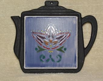 Trivet, Cast Iron, Teapot Shape, Ceramic Tile, Flower, Blue, Black, Kitchen, Home Decor, Red, Green, Wall Decor,