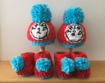Thing 1 and Thing Two Hats with Baby Booties