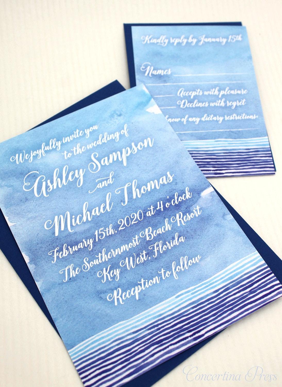 beach wedding invitation watercolor wedding invitation beach