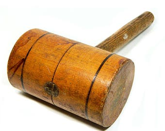 Large Old Wooden Mallet Gavel