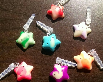 Kawaii Glow in the Dark and Color Swirled Handmade Polymer Clay Star Dust Plug Charm Cell Phone Accessory