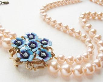 Déclaration collier, collier de mariée mariage bijoux Vintage bleu violet perles pêche déclaration collier de fleurs