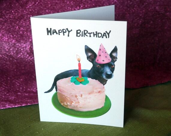 Black Chihuahua Cake Printable Birthday Card Digital Dog