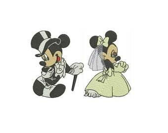 Wedding Mickey and Minnie Mouse Machine Embroidery Designs Mickey Mouse INSTANT DOWNLOAD