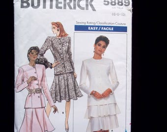 Vintage 80's Women's Suit Sewing Pattern, Fitted Jacket, Semi-Fitted Flared Skirt or Layered Flounce Skirt- Butterick 5889 Size 6-8-10 UNCUT