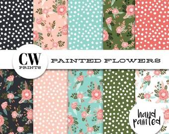 Painted Florals Digital Paper Pack: 12x12 inch paper, 10 painted flowers, floral pattern, Digital Background Paper, Digital Printables,